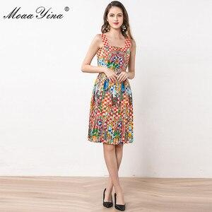 Image 2 - MoaaYina Fashion Designer Dress Summer Women Spaghetti strap Beaded Vintage Print Vacation Dress
