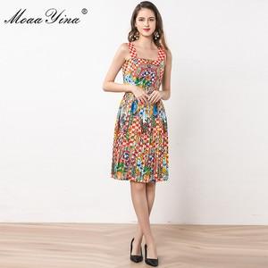 Image 2 - MoaaYina ファッションデザイナードレス夏の女性スパゲッティストラップビーズヴィンテージ休暇ドレス