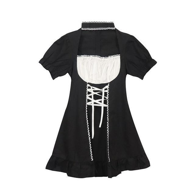 QWEEK Women's Maid Dress Kawaii Lolita Outfit French Maid Costumes Cosplay Bandage Dress Sexy Waitress Dress Puff Sleeve Uniform 5