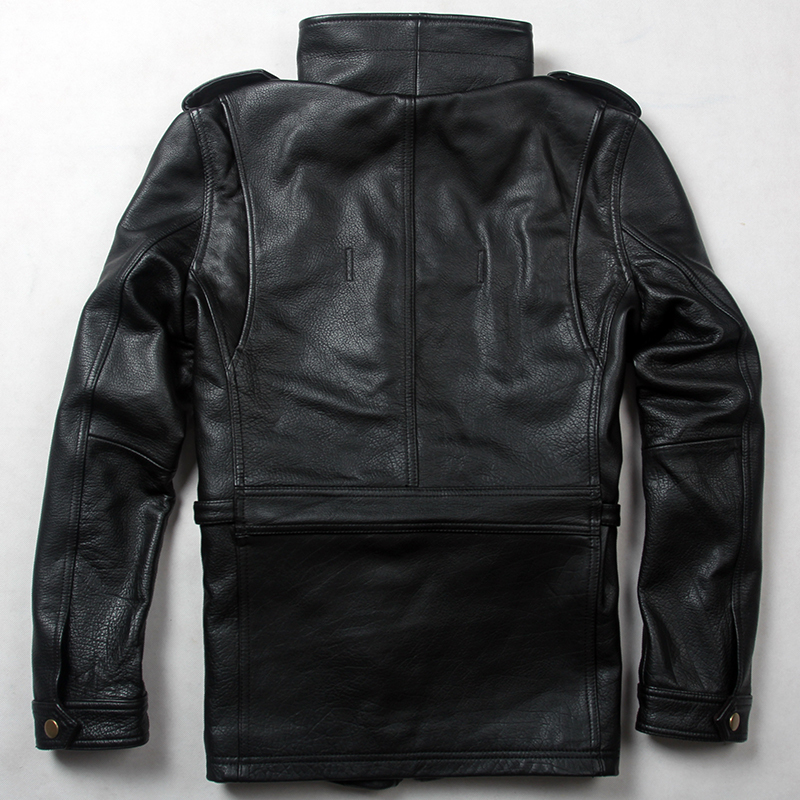 New Arrivals Men's M65 Cow Military Uniform Style Black Genuine Jacket Men Spring Leather Coat Male