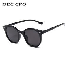 OEC CPO Small Round Sunglasses Women Men Fashion Rivet Cat eye Sun Glasses High Quality Black Unisex UV400 Oculos O146