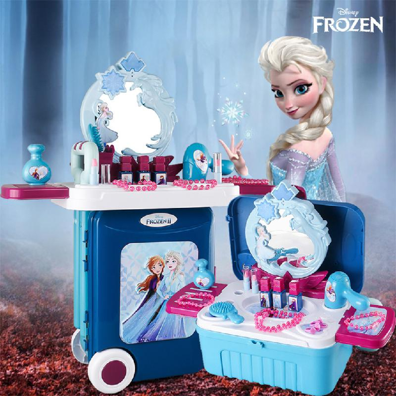 Disney Princess Frozen 2 Elsa And Anna Simulation Cosmetics Girl Toy Beauty Fashion Play House Dresser Girl Games Makeup Set Toy