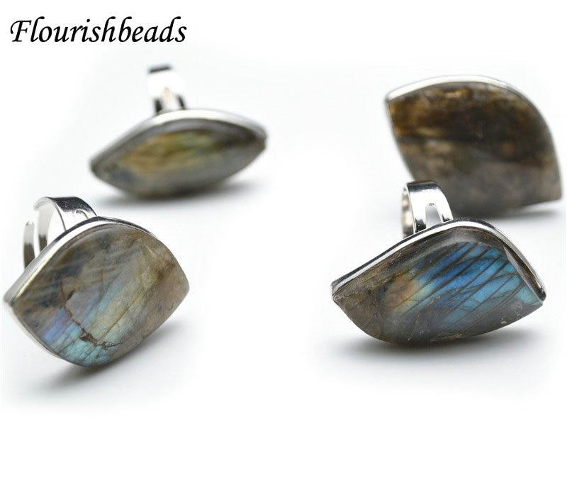 Unique Design Natural Labradorite Gemstones Eye Shape Flat Rings Circle Length Adjustable Shiny Fashion Jewelry Gift