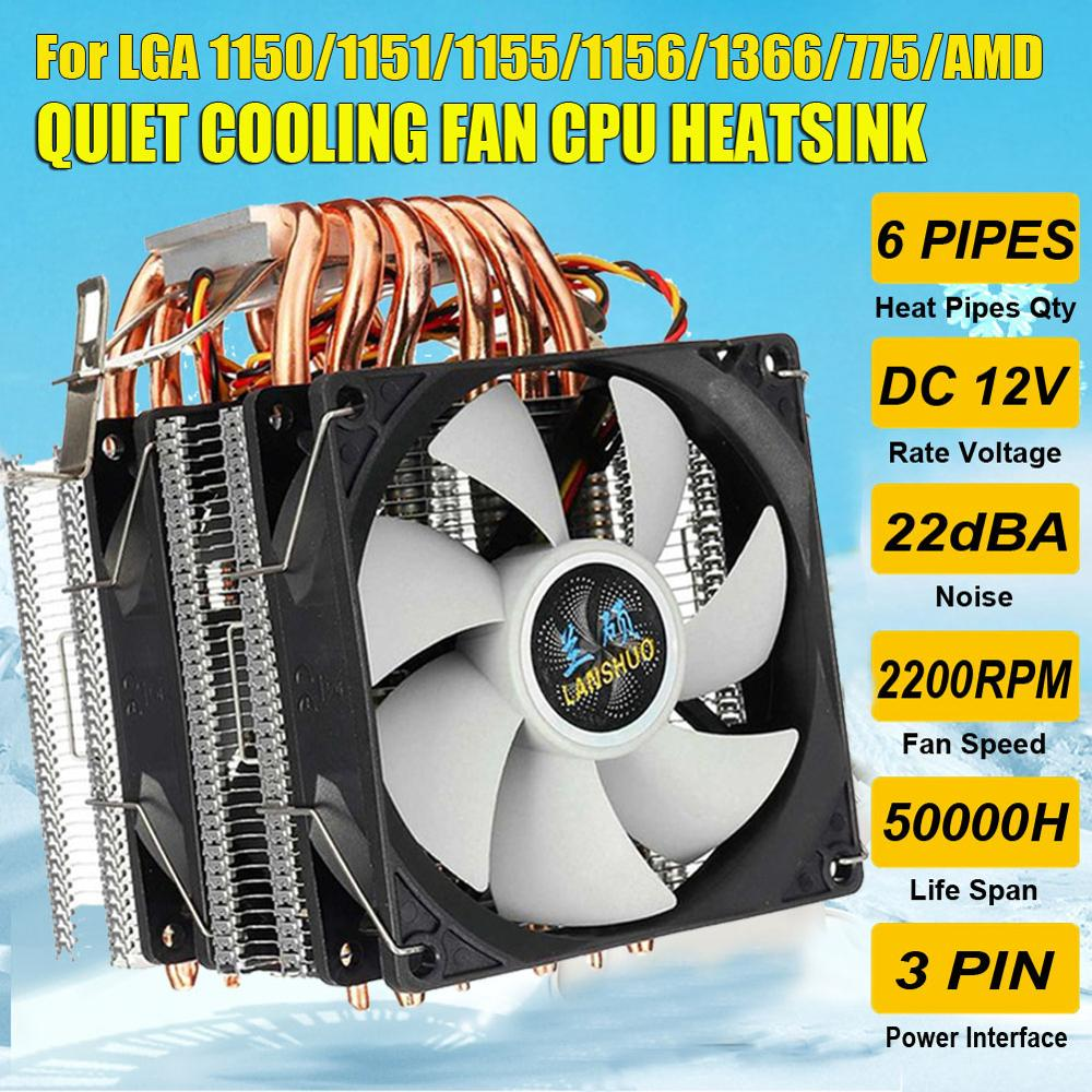 6 Heat Pipes CPU Cooler Dual-side Fan Cooler Quiet Cooling Fan Heatsink Radiator For LGA 1150/1151/1155/1156/1366/775 For AMD