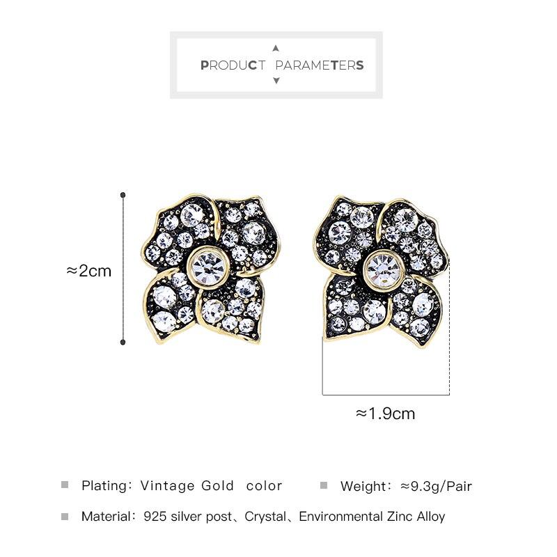Fashion Femmes 925 Argent Post Or Vintage Fleur de Cristal Boucles D/'oreille ed01583c