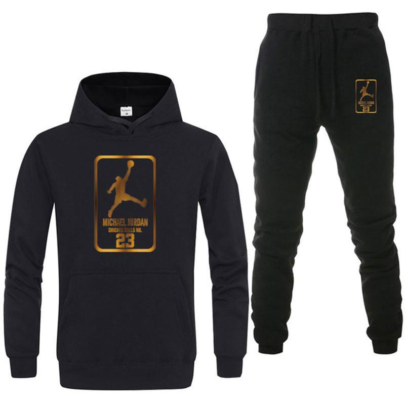 Men's Sportswear Set Jordan Dunk Pattern Print Hoodie+Pocket Sweatpants Two Pieces Tracksuit Men Pullover Casual Brand Clothing