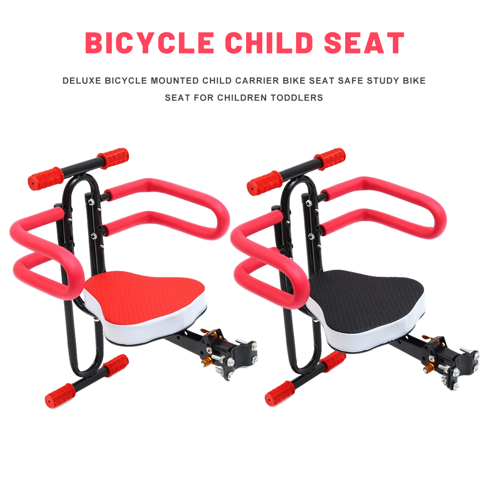 Foldable Bicycle Mounted Child Carrier Bike Seat Adjustable Height Deluxe Safe Study Bike Seat For Children Toddlers