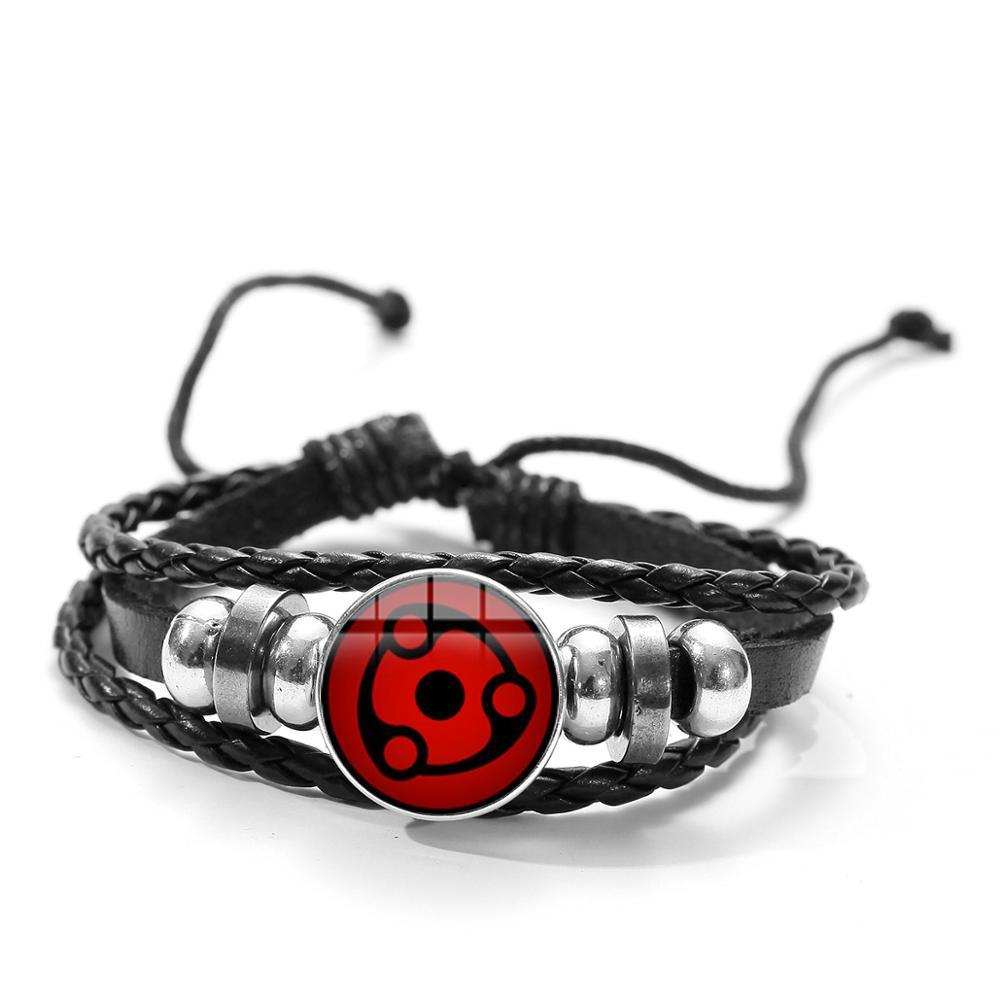 SONGDA Naruto Shippuden Anime Leather Bracelet Uchiha Sasuke Icon Glass Round Photo Handmade Beaded Bracelets Fashion Fans Gift 2