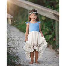 Girls Summer Dress European and American Style Summer 2019 Frocks Lace Sleeveless Girls Clothing Summer Dress Girl Cotton Solid цена 2017
