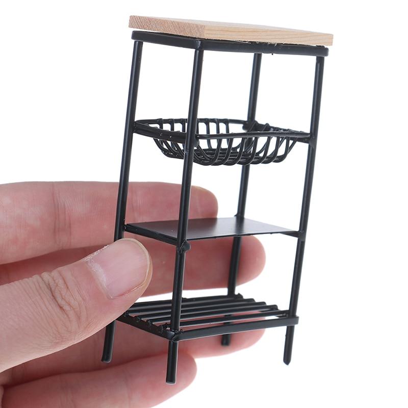 1:12 Doll House Accessories Mini Black Kitchen Side Cabinet Miniature Display Shelf Accessories Kitchen Dining Cabinet Kids