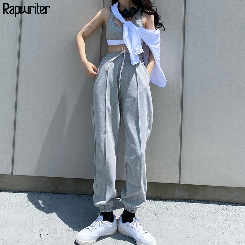 Rapwriter Summer Casual Drawstring High Waist Pants Gray Streetwear Joggers Women korean Style Sweatpants Capri Trousers Bottom