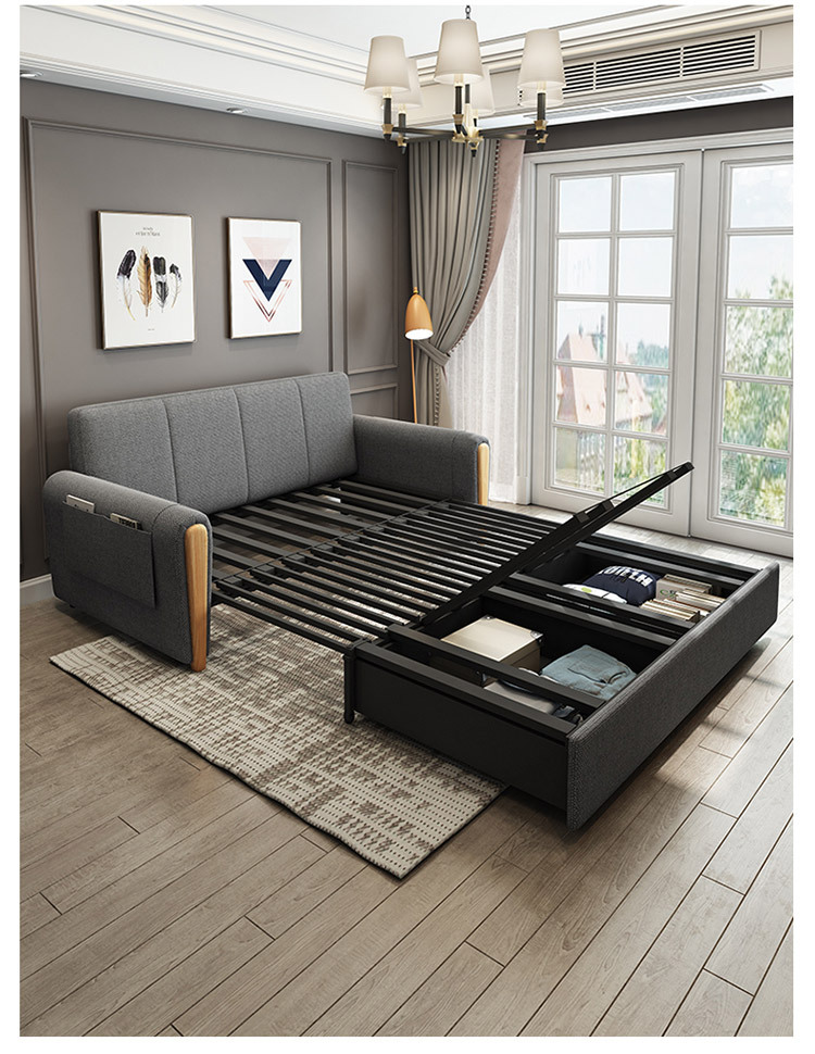 Multi-Functional Foldable Simple Lazy Sofa Bed Small-Sized Living Room Double Sit Or Lie Dual-Purpose