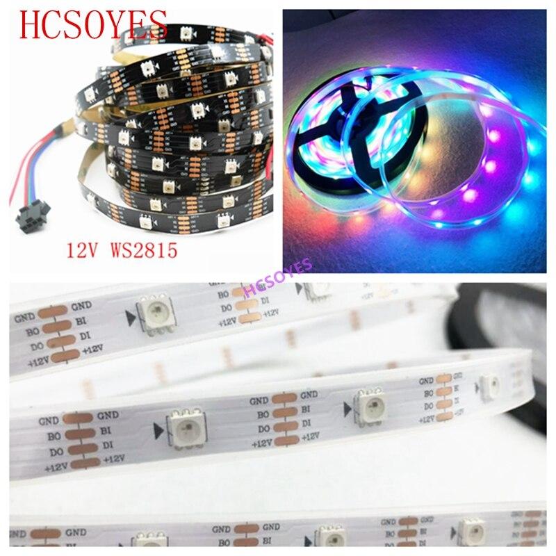 DC12V WS2815 Led Strip 1m/3m/5m Smart Pixel 30/60/144 Leds/m Black/White PCB IP30/IP65/IP67;Addressable Dual-signal,ws2813