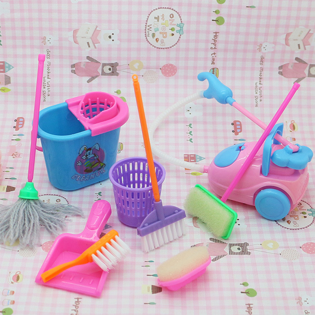 9Pcs Mini Pretend Play Mop Broom Toys Cute Kids Cleaning Furniture Tools Kit Lovely Doll House Clean Toys