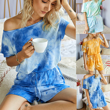 New Summer Fashion Women Mono Print Casual Sweet Short Sleeve Playsuits Sexy Beach Tie Dyed Lace up Loose  Jumpsuit artka 2020 spring summer new women bodysuit fashion print loose chiffon playsuits v neck flare sleeve jumpsuit women ka25003c