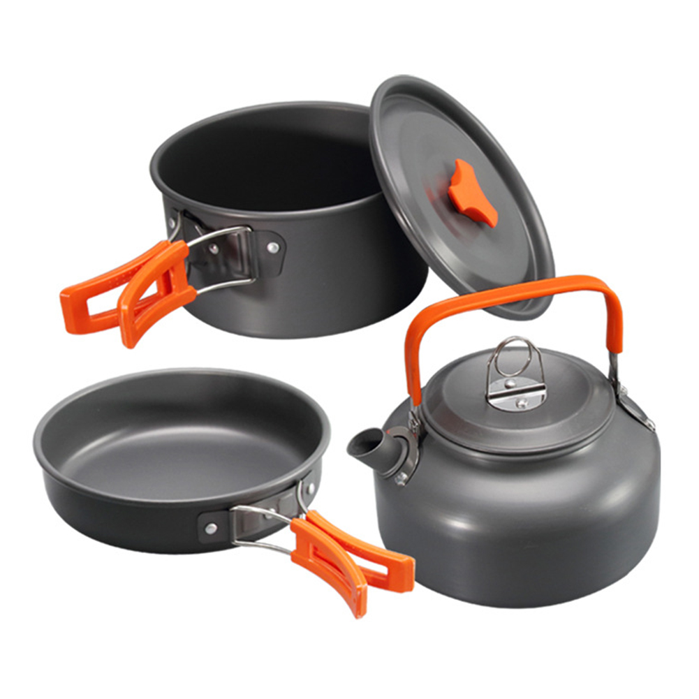 3 шт., набор посуды из алюминиевого сплава для путешествий на открытом воздухе, кемпинга, устойчивый к коррозии, кастрюля, кастрюля, чайник, н...