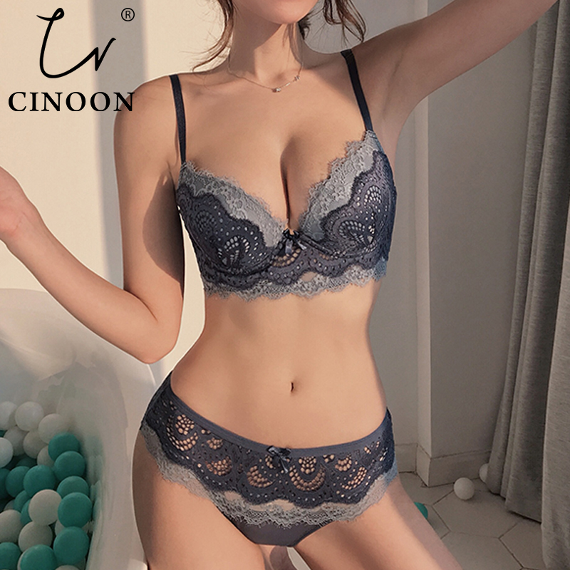 CINOON New Lace Lingerie Women Sexy Bra Set Push up Bras Underwear Set 3/4 Cup Lingerie Set Embroidery Flowers Bras and PantiesBra & Brief Sets   -