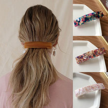 Fashion Geometric Rectangle Hair Clips Leopard Print Floral Barrettes Women Hairpins Bangs Clips Acetate Resin Hair Accessories