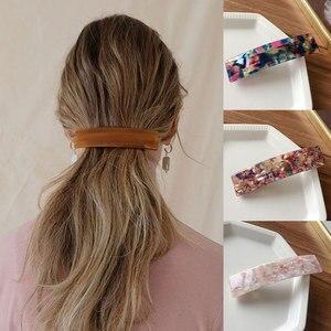 Fashion Geometric Rectangle Hair Clips Leopard Print Floral Barrettes Women Hairpins Bangs Clips Acetate Resin Hair Accessories