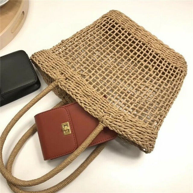 Women Straw Shopping Basket Beach Tote Summer Shoulder Bag Handbag 2