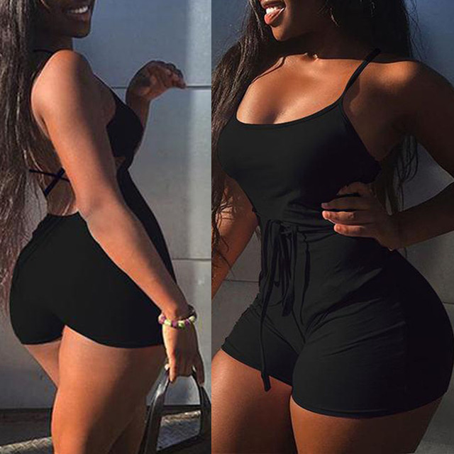 2019 Women Short Sling High Waist Jumpsuit Beach Playsuit Party Club Sexy Summer Soild Sleeveless Bangdage Backless Rompers 2