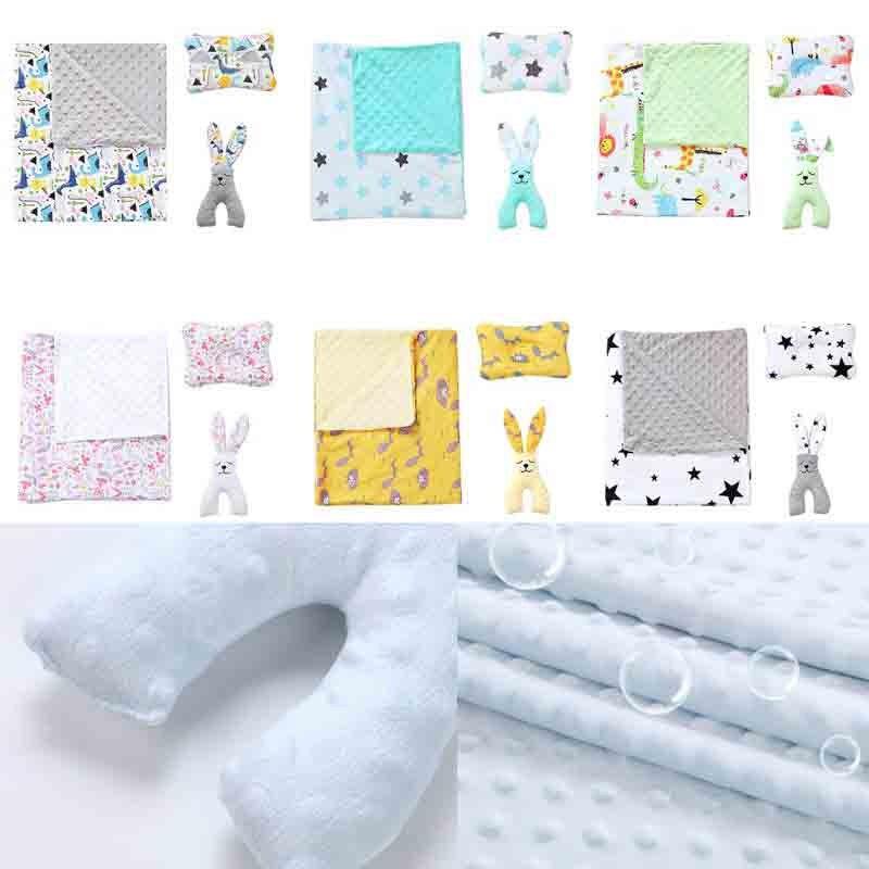 3 Pcs/set Baby Peas Blanket Soft Breathable Cartoon Sleep Comfort Dolls Newborn Stroller Blankets Pillow