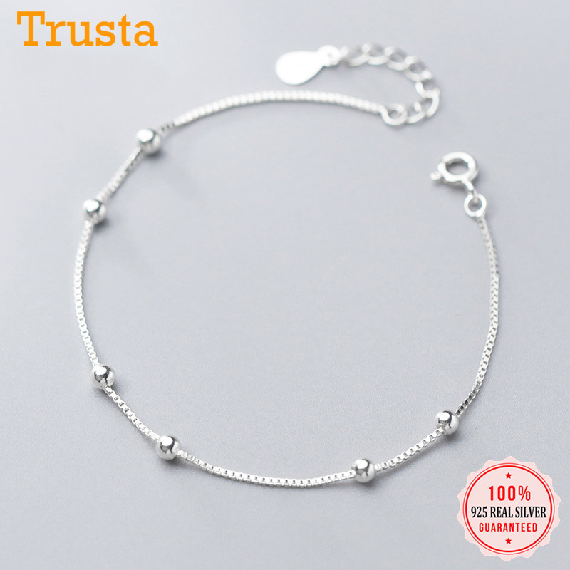 Trustdavis Genuine 925 Sterling Silver Minimalist Box Chain Beads Bracelet Anklets For Women Girls Wedding Jewelry Gift DS1892