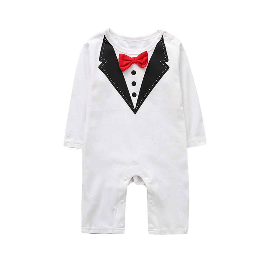 Baby Boys Bodysuit Long Sleeve Bow Tie Newborn Rompers Jumpsuit Fake Three-piece