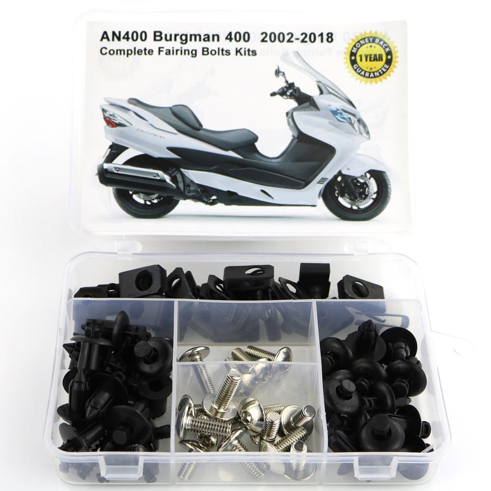 Для Suzuki AN400 Burgman 400 2002- мотоцикл Полный Обтекатель Болты комплект обтекателей зажимы гайки OEM стиль корпуса Винты сталь - Цвет: Silver