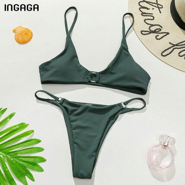 INGAGA Ribbed Bikinis Women's Swimsuits Sexy Ring Swimwear Women Push Up Biquini Micro Thong Bathing Suits Brazilian Bikini Set 5
