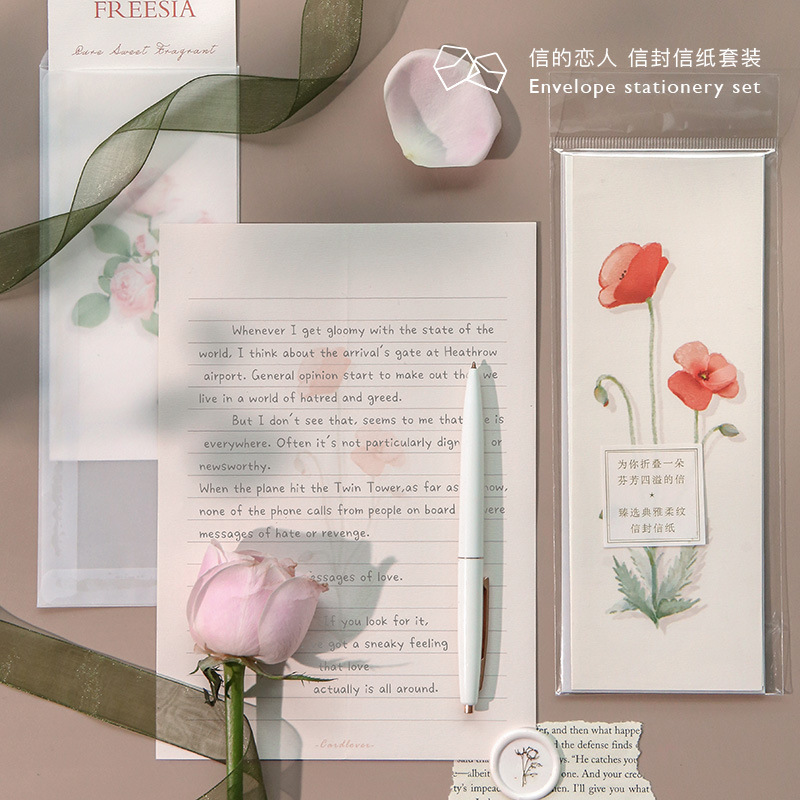 3pcs/set Letter+Envelope Set Romantic Fresh Flower Illustration Letterhead Envelope For Birthday Christmas Wedding Writing Gift