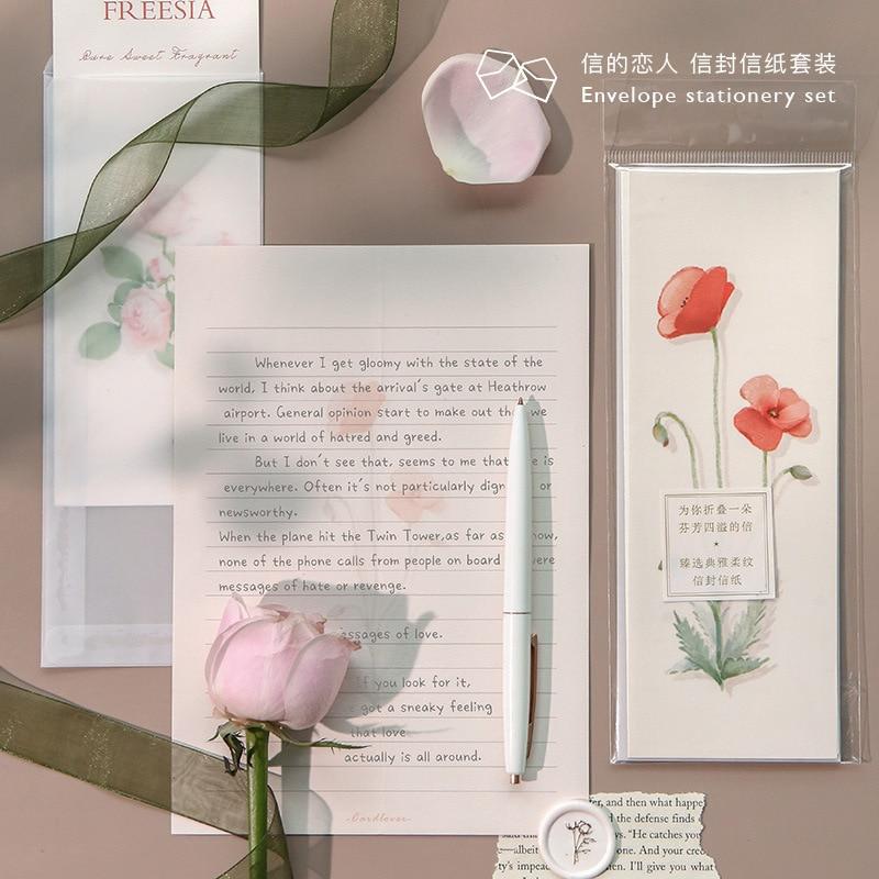 3pcs/set Letter+Envelope Set Romantic Fresh Flower Illustration Letterhead Envelope For Birthday Christmas Wedding Writing Gift