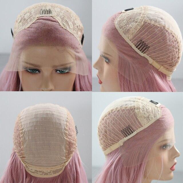 Charyzma peruka z prostymi włosami koronkowe peruki z naturalną linią włosów różowa peruka z włókna syntetycznego o wysokiej temperaturze dla kobiet