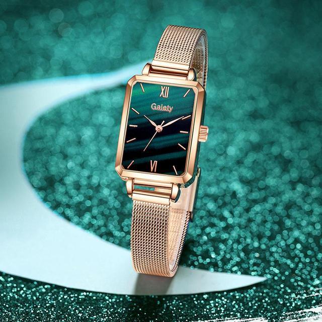 Marca Gaiety-relojes cuadrados de cuarzo para mujer, conjunto de pulsera, esfera verde, sencillo, malla de oro rosa, de lujo 5