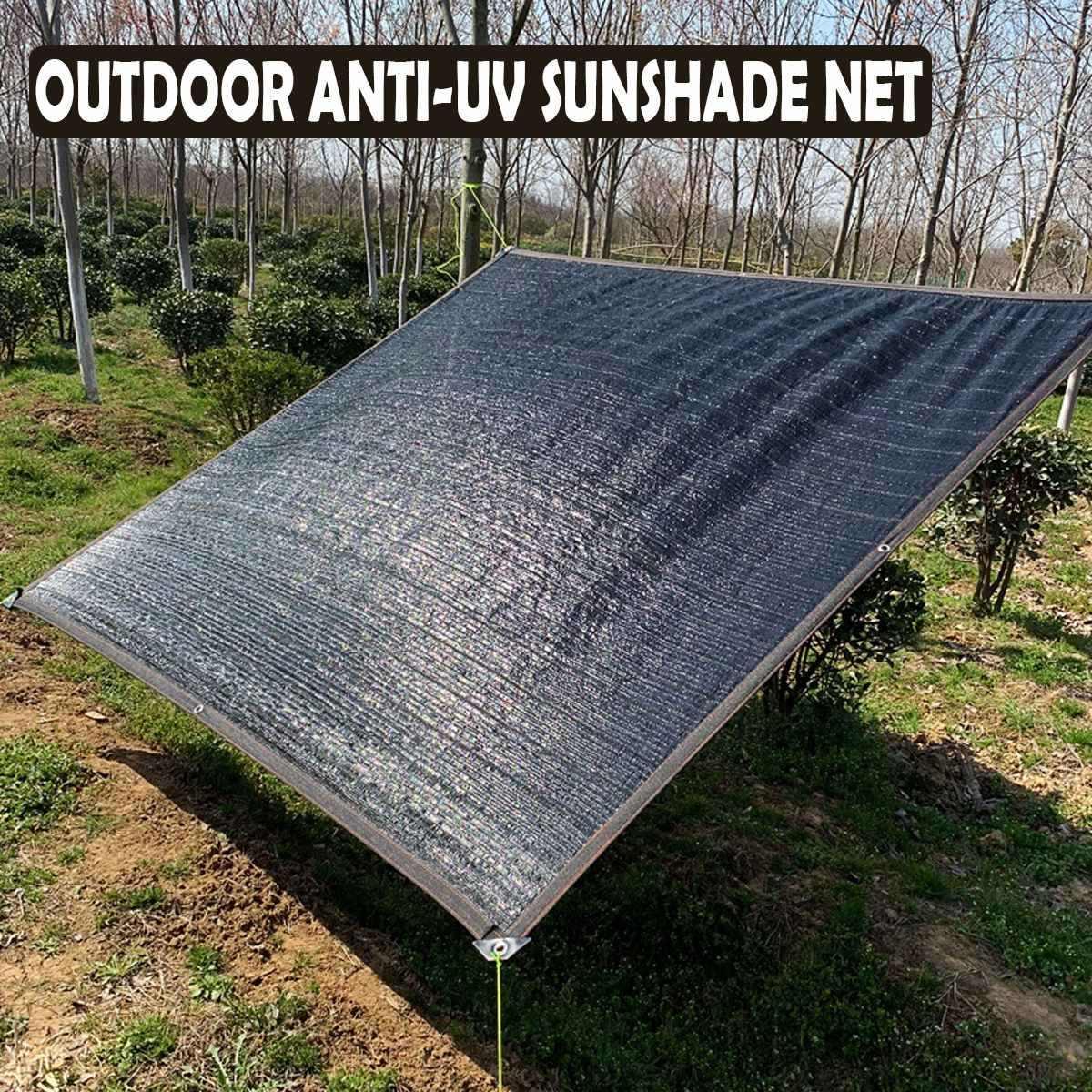 Black Sun Shelter ตาข่าย HDPE สุทธิ Shade Hang Hole สำหรับ Camping สวนเรือนกระจกรถฝาครอบกันสาด