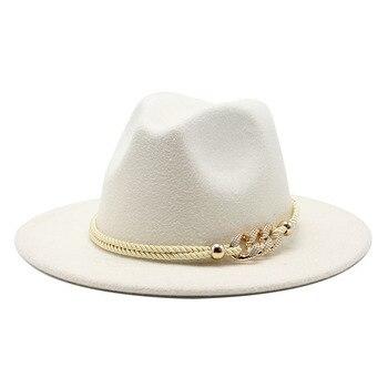 Sombrero Derby Simple de ala ancha negro/blanco para Iglesia sombrero Panamá fieltro sólido sombrero para hombres mujeres mezcla de lana artificial gorra de Jazz