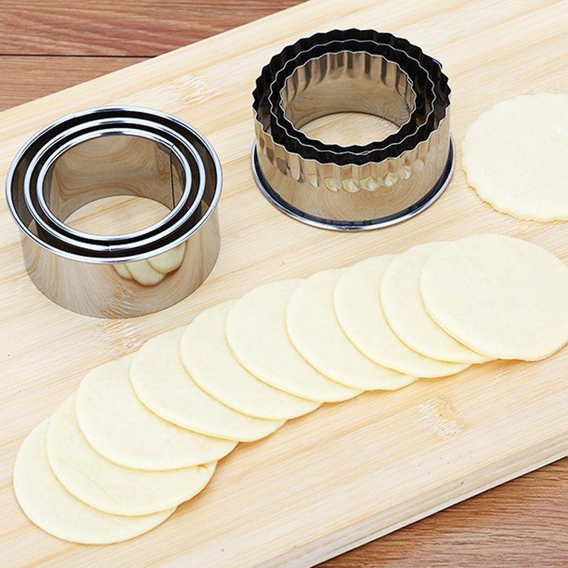3pcs/set Dumpling Wrapper Molds Cookie Cutter Stainleess Steel Round/Flower Shape Portable Dough Cutting Model for Jiaozi