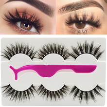Buy 3 Pairs False Eyelashes Wispy Fluffy Thick Long Fake Eye Lashes with Tweezers Handmade Natural Eyelash Extension Beauty Tools directly from merchant!