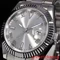 Numeri romani 40 millimetri argento quadrante in vetro zaffiro di vetro del braccialetto del catenaccio automatic mens orologio da polso P188