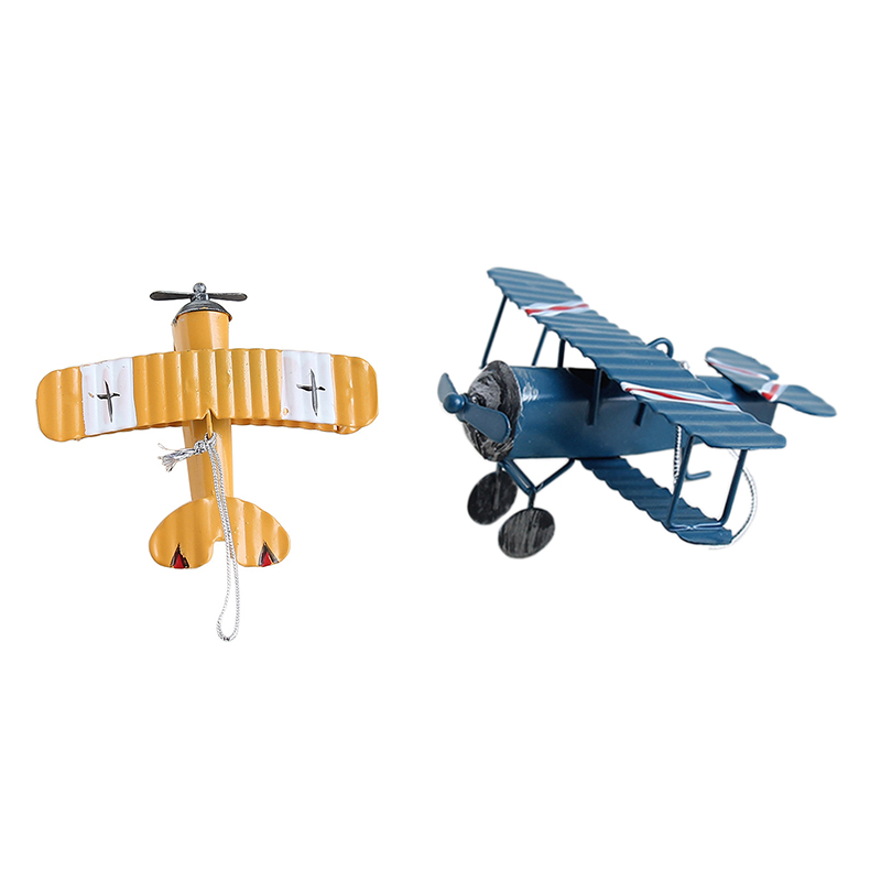 Promotion! 2 Pcs Retro Airplane Figurines Metal Plane Model Vintage Glider Airplane Home Decor Miniatures, Blue & Yellow image