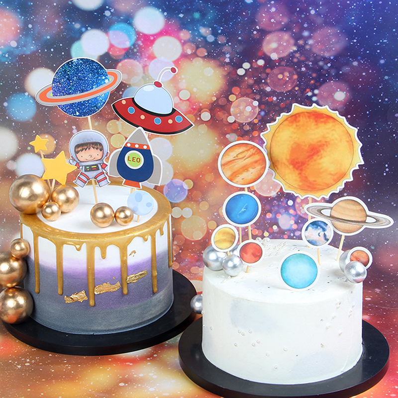 Outer Space Party Astronaut Rocket Ship Theme Foil Balloons Galaxy/Solar System Party Cake Toppers Boy Birthday Supplies-0