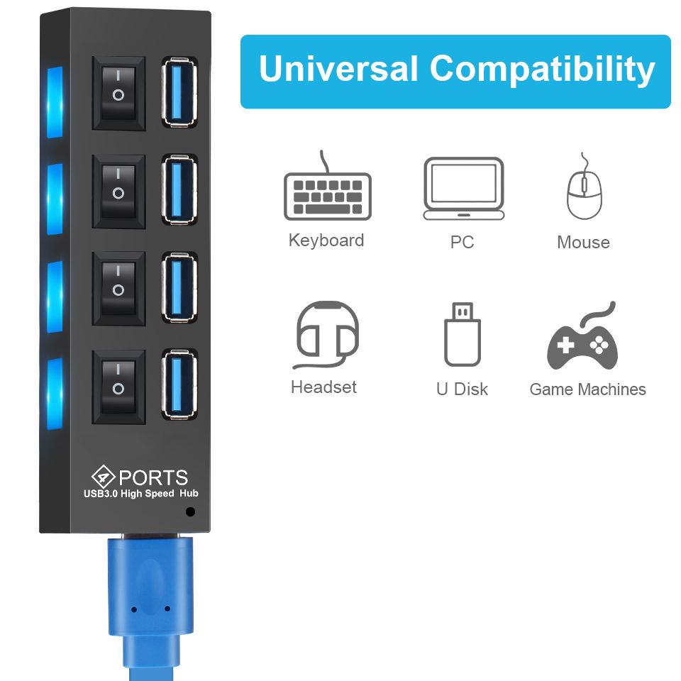 USB 3.0 Hub USB Hub 3.0 Multi USB Splitter 3 Hab Use Power Adapter 4/7 Port Multiple Expander 2.0 USB3 Hub with Switch for PC 4