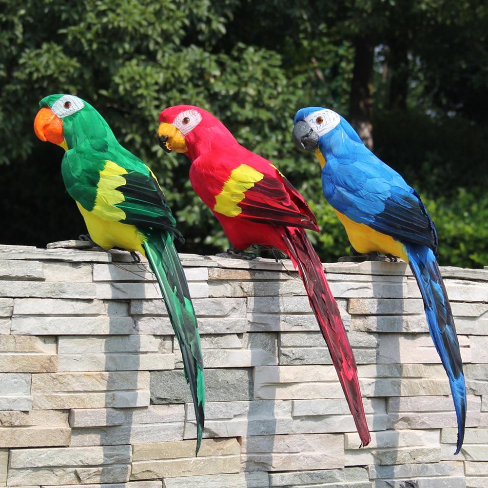 60cm Colorful Fake Parrots Artificial Feather Parrot Birds Model Home Outdoors Garden Lawn Tree Decor Decoration Ornament