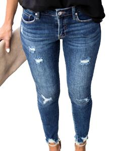 Image 5 - ใหม่กลางเอวกางเกงยีนส์Skinnyผู้หญิงVintage Distressed Denimกางเกงหลุมทำลายดินสอกางเกงขายาวกางเกงสบายๆฤดูร้อนRippedกางเกงยีนส์