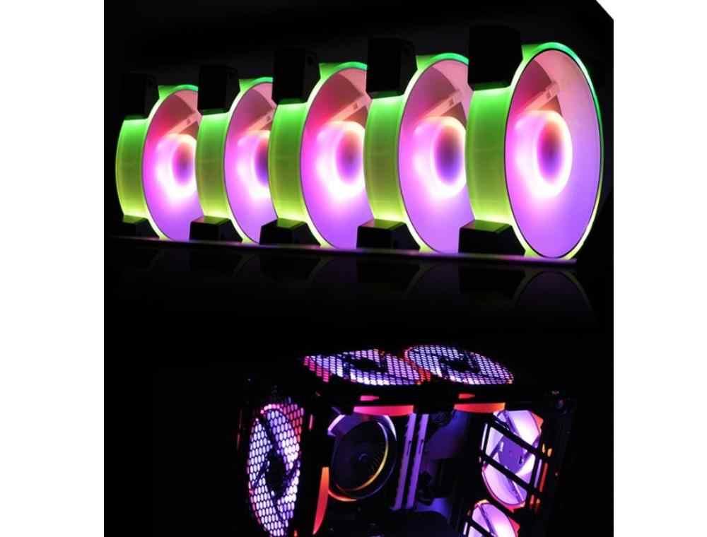 Aigo C5-ventilateur de refroidissement avec télécommande silencieuse, 5v, 3 broches, synchronisation Aura, refroidisseur de processeur d'ordinateur, 120mm, LED PC, coque d'ordinateur, ventilateur de refroidissement réglable