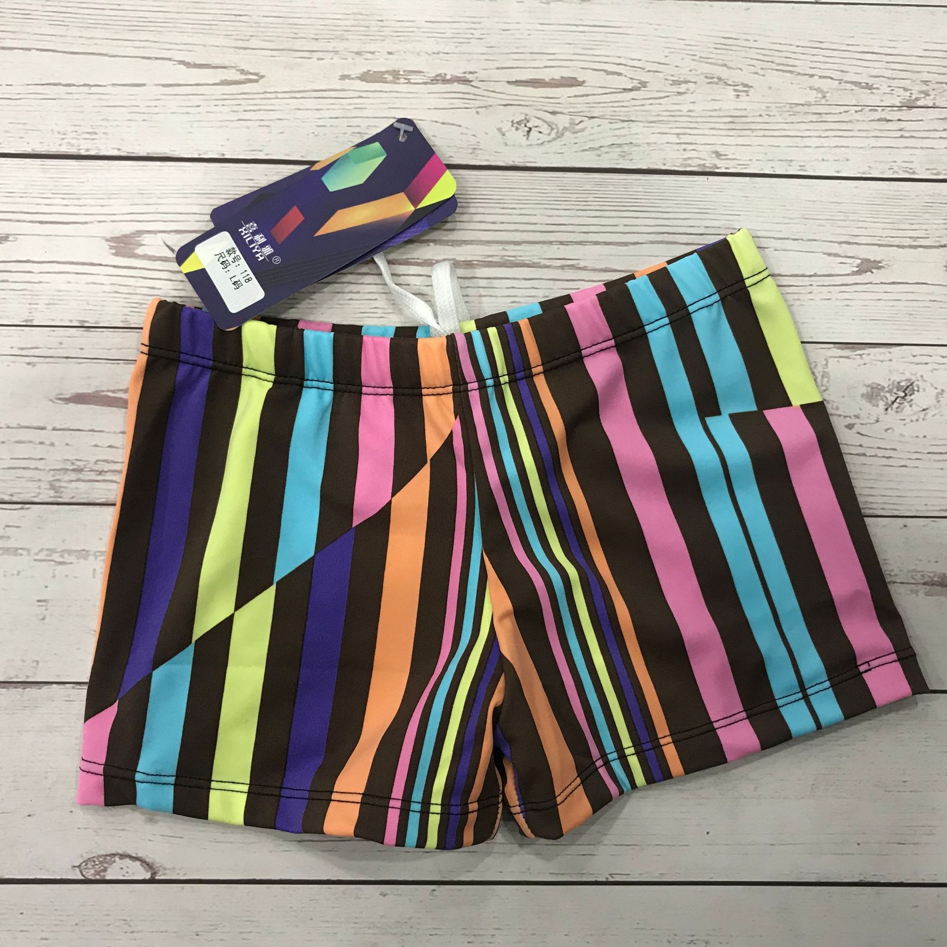 2019 Swimming Trunks BOY'S Boxer Stripes Four Corners Boxer Swimming Trunks Bohemian Printed Swimming Trunks