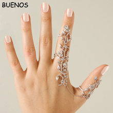 BUENOS New Fashion Personality hollow-out joint rose adjustable finger ring(China)