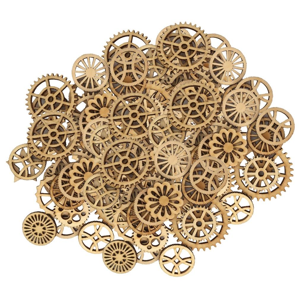 100 個木製装飾工芸品ギア形中空装飾 Diy アルバム誕生日パーティーの装飾