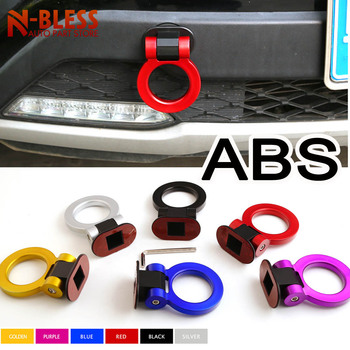 Car Styling Trailer Hooks Sticker Decoration Car Auto Rear Front Trailer Simulation Racing Ring Vehicle Towing Hook ABS