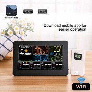 Image 1 - Wielofunkcyjna stacja pogodowa WiFi kontrola aplikacji inteligentny Monitor pogody wewnętrzna temperatura zewnętrzna wilgotność barometryczna prędkość wiatru
